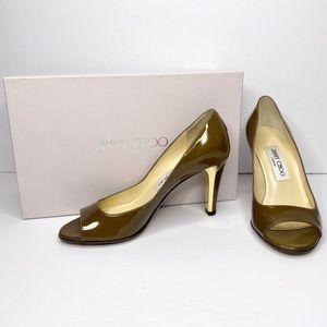 Authentic Jimmy Choo Patent Peep-Toe Gilded Heels